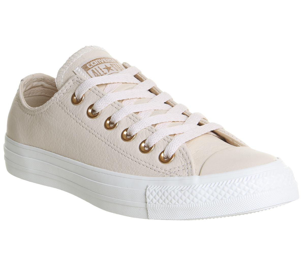 c53ad7f632ac Converse All Star Low Leather Egret Pastel Rose Tan Blush Gold ...