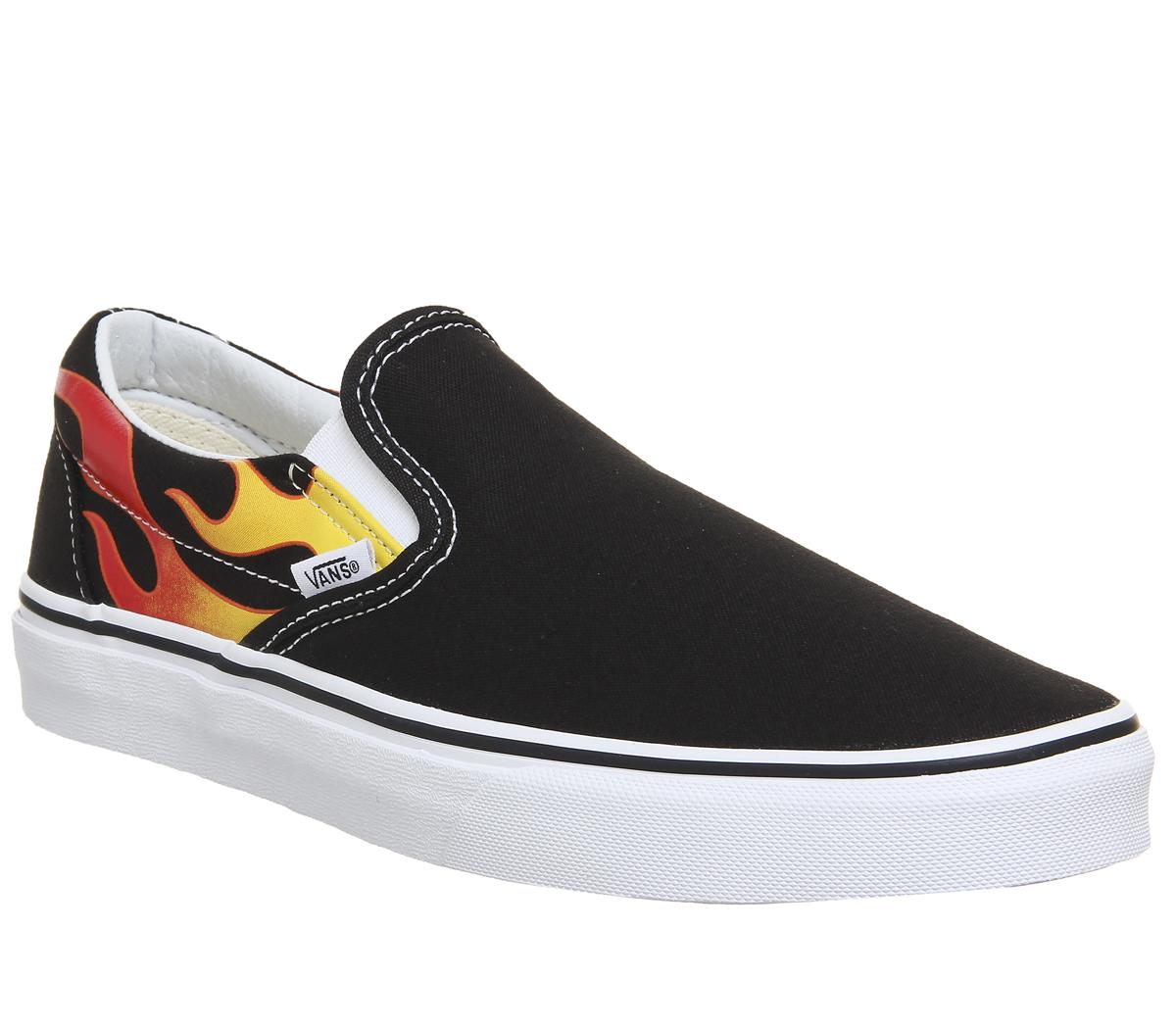 womens black & orange vans authentic mash up flames trainers