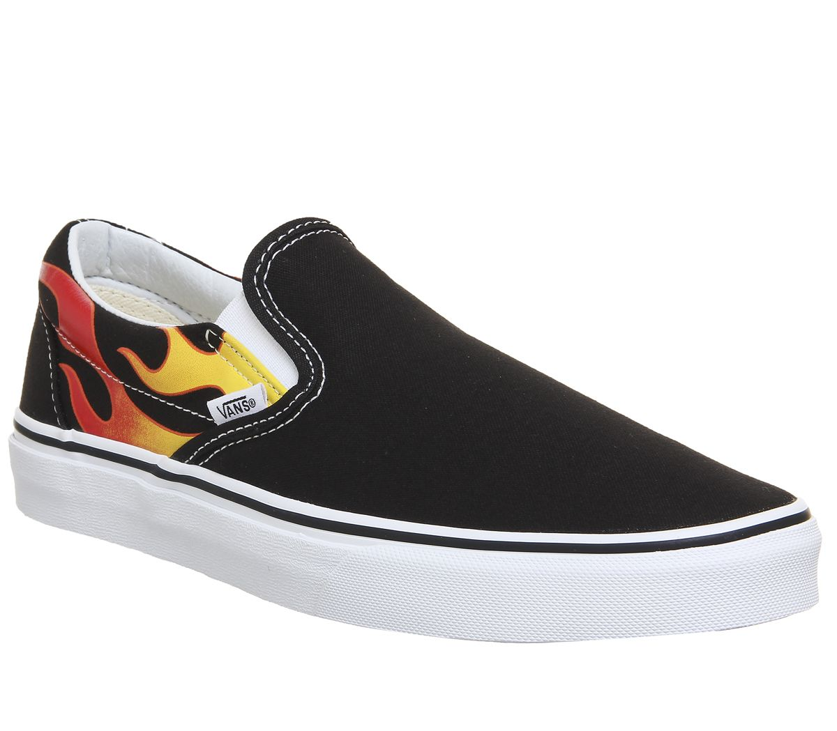 f3fe3bb2c4 Vans Vans Classic Slip On Trainers Black White Flame - His trainers