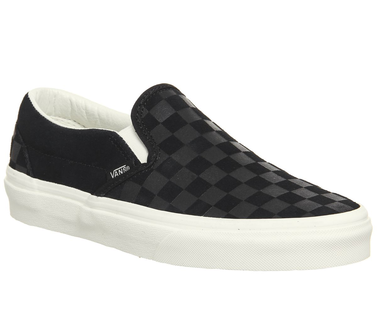 cd67fc65a0 Vans Vans Classic Slip On Trainers Black Marshmallow Checkerboard ...