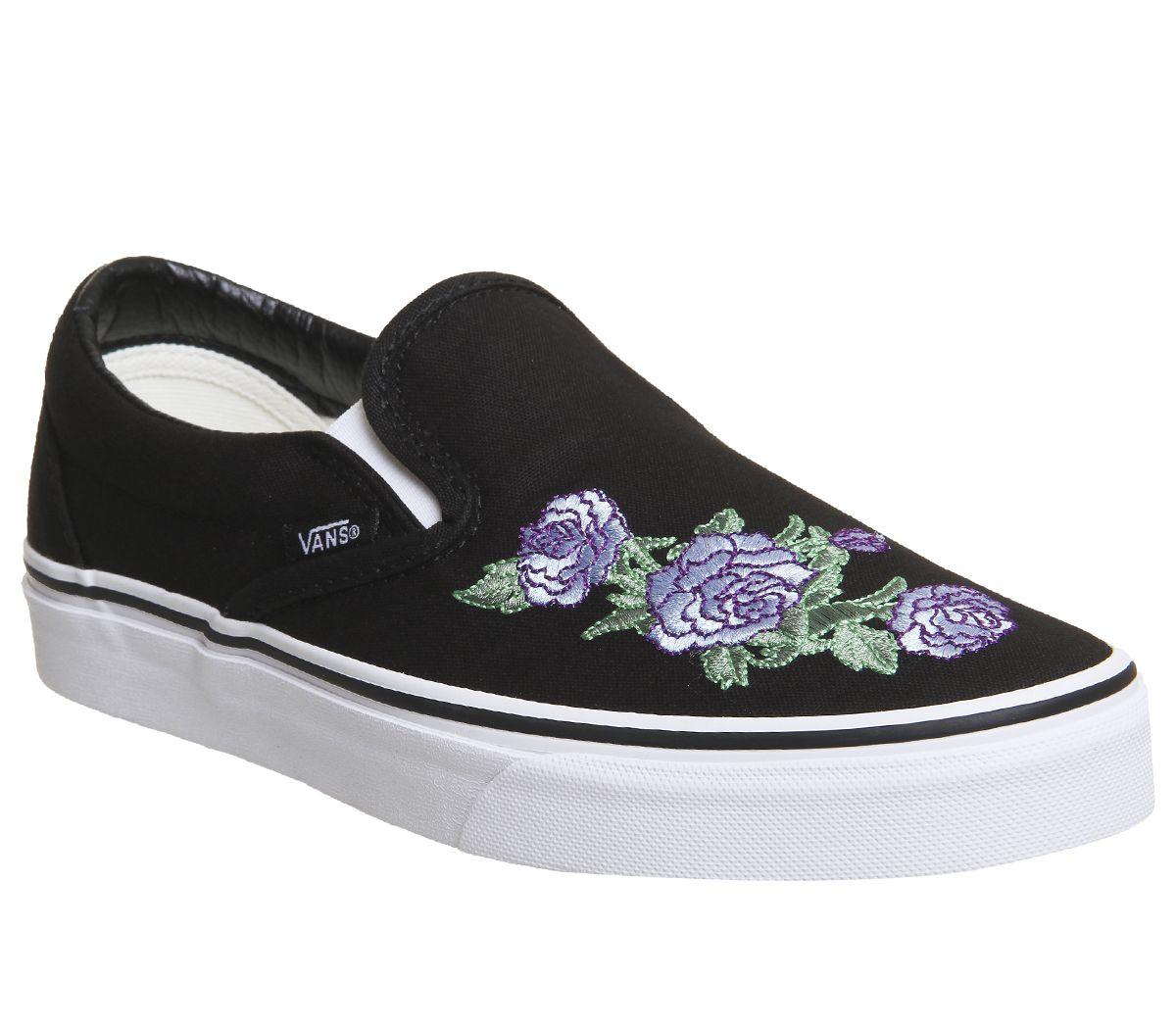 2bd85ea725de50 Vans Vans Classic Slip On Trainers Black Lilac Rose - Hers trainers