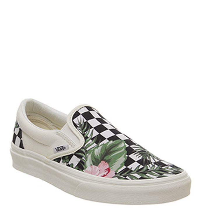 b33a99c60e4231 23-04-2019 · Vans Vans Classic Slip On Trainers Black Tropical Checkerboard  Exclusive