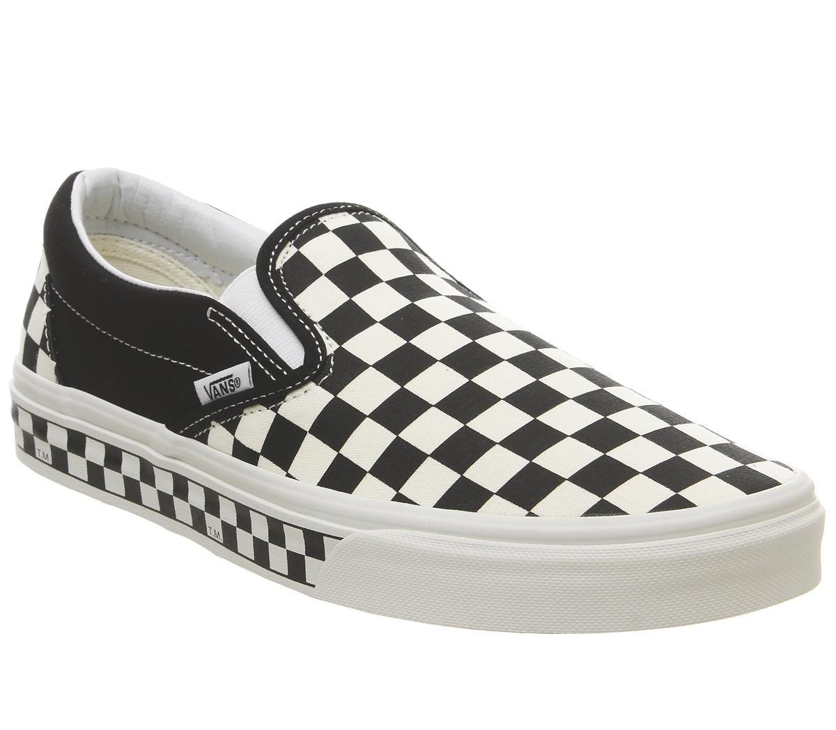 vans classic slip on black white