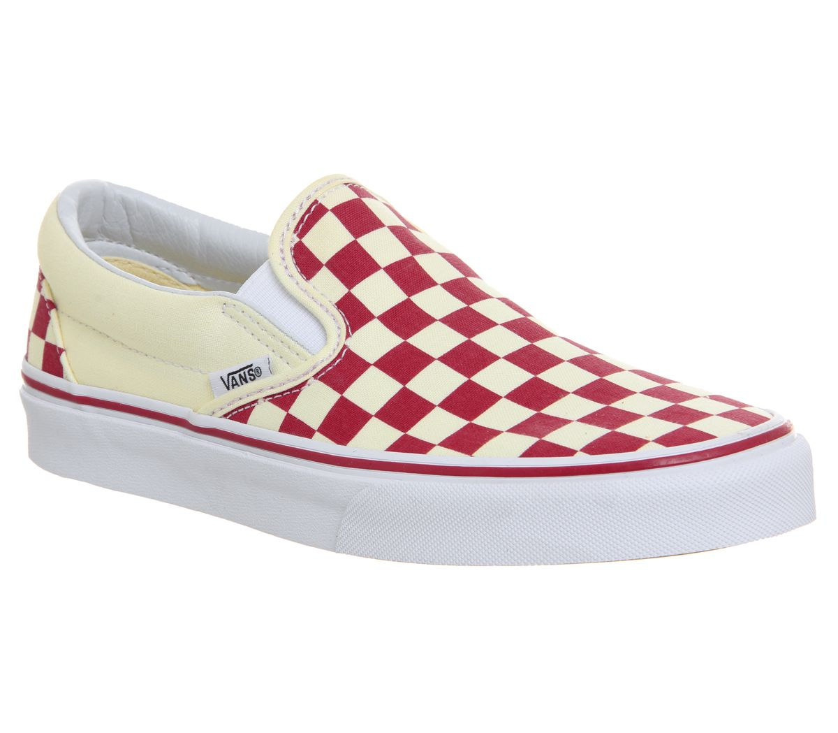 194b52e8e43 Vans Classic Slip On Trainers Racing Red Classic White Checkerboard ...