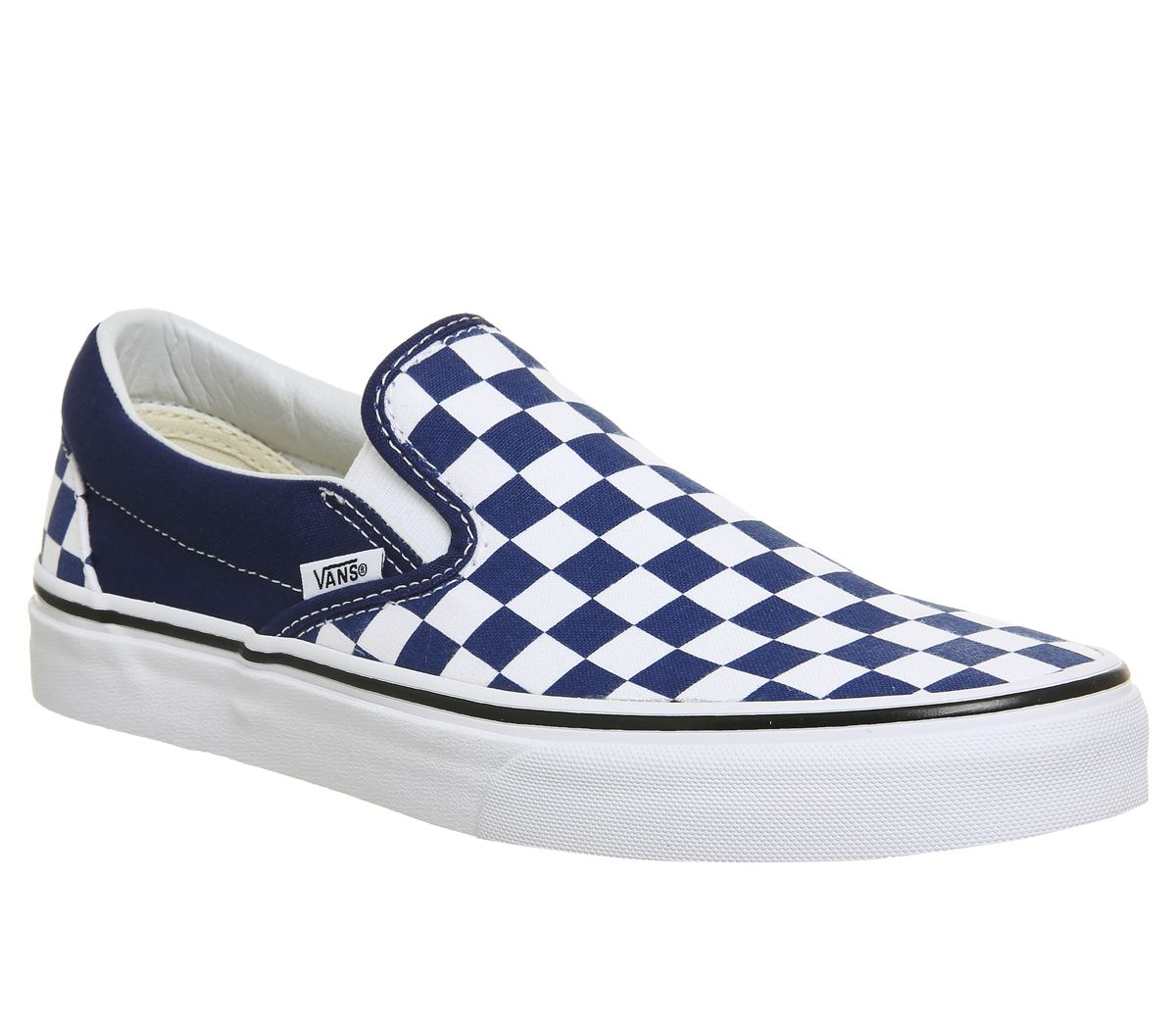 224f2d5c5188dc Vans Vans Classic Slip On Trainers Estate Blue White Checkerboard ...