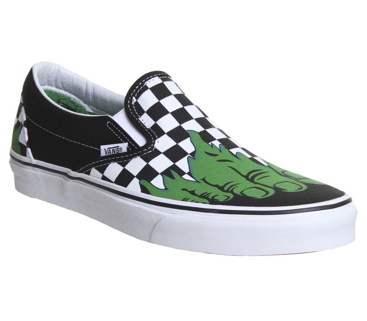 59e82db550 Vans Vans Classic Slip On Trainers Hulk Checkerboard Marvel - Unisex ...