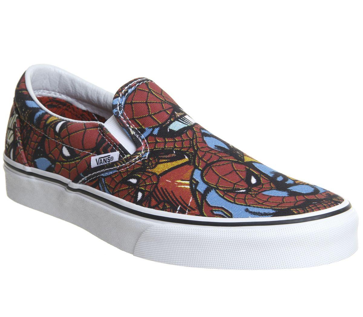 466bb816f4 Vans Vans Classic Slip On Trainers Spiderman Black Marvel - Unisex ...