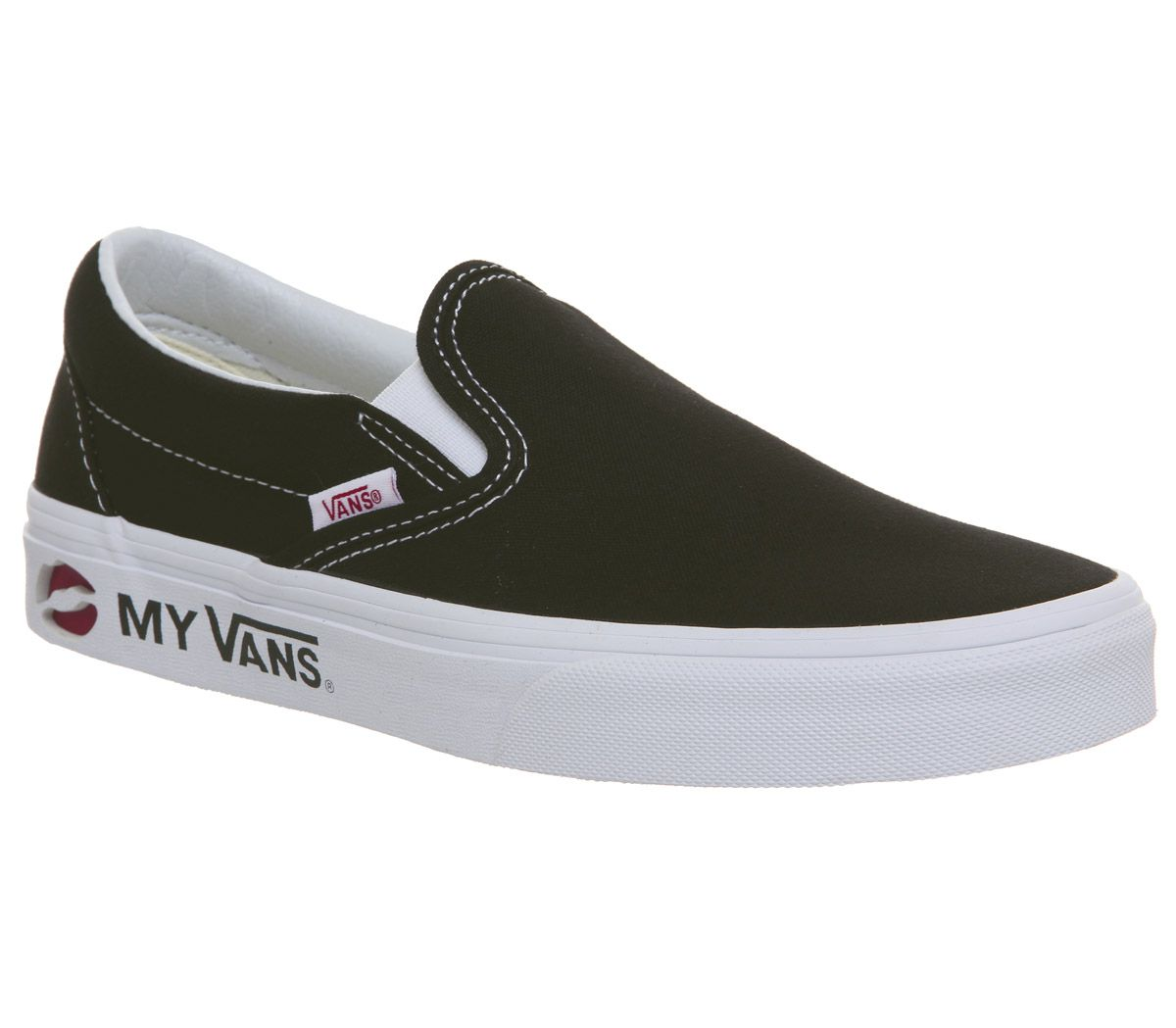 4461a9808c Vans Vans Classic Slip On Trainers Kmv Black True White Racing Red ...