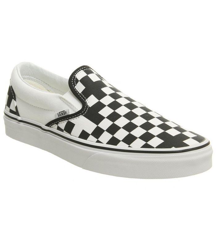 ff68a76cdb Vans Vans Classic Slip On Trainers Geometric Black True White ...
