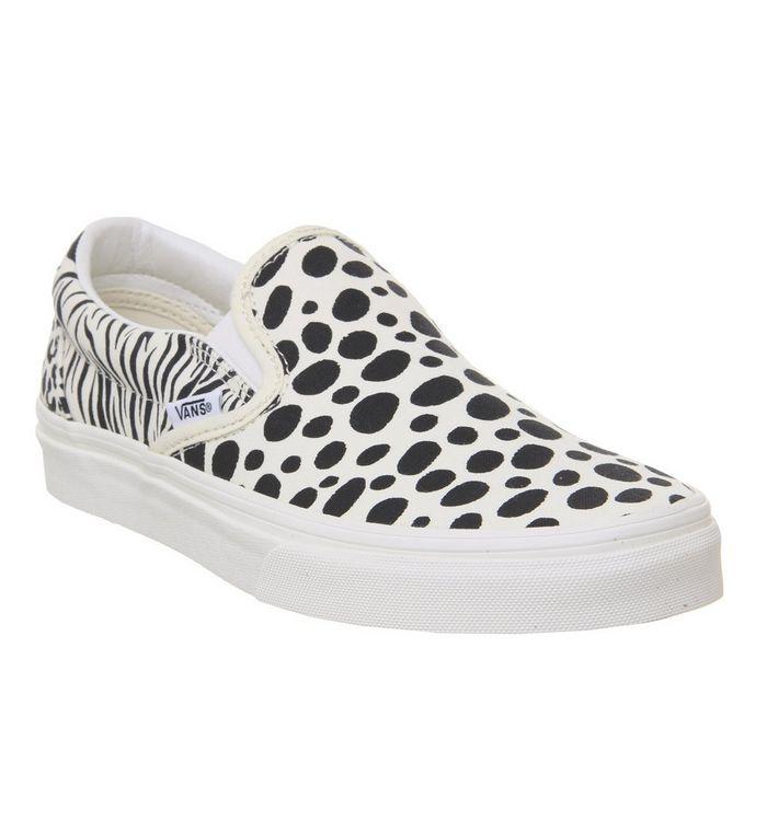 04056b31ca Vans Vans Classic Slip Ons Animal Print Classic White Black ...