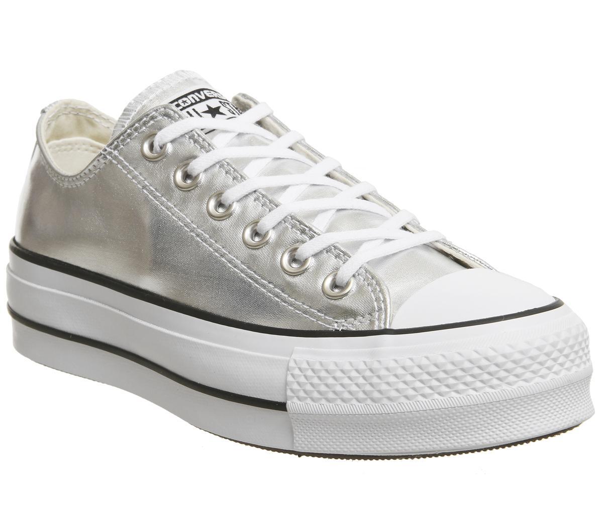 converse silver platform