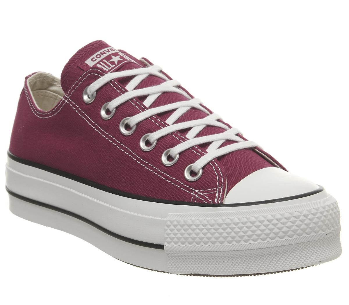 Converse Burgundy All Star Low Platform Trainers by Office