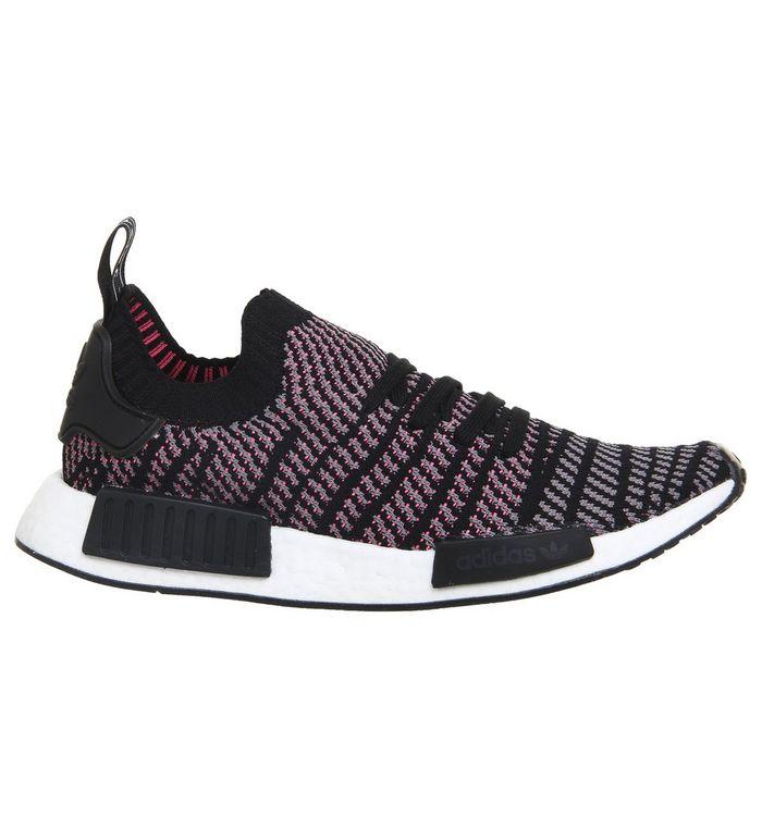 40601a7cd2c61 adidas Nmd R1 Prime Knit Clear Black Grey Solar Pink - Unisex Sports