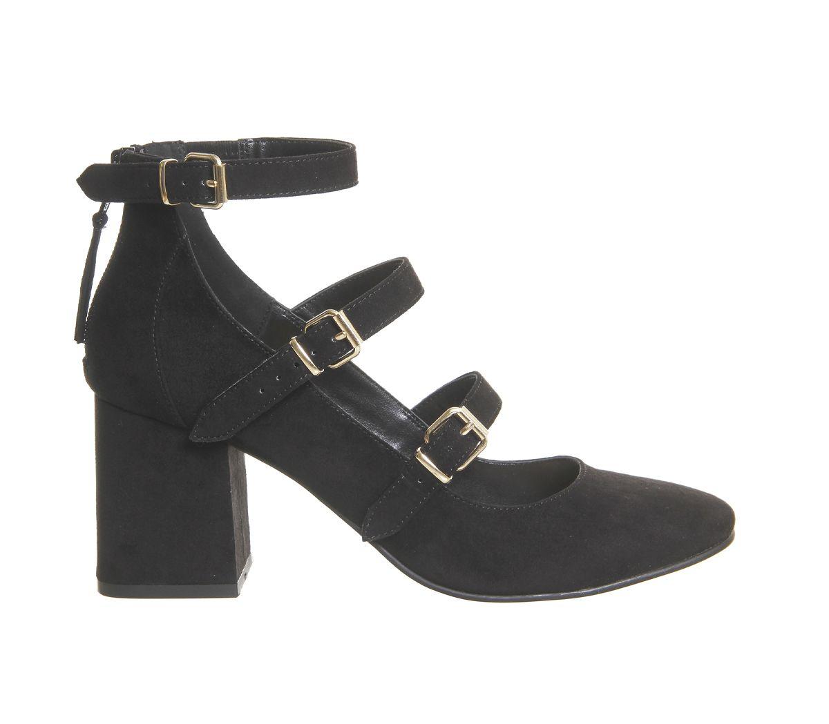 5cddecb49cf Office Flirt Three Strap Block Heels Black - Mid Heels