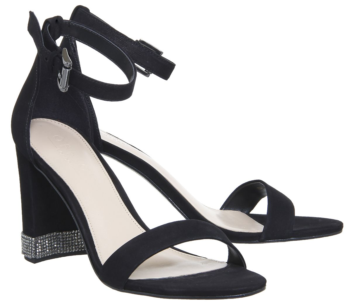 27407acdaf9 Office Nina Block Heel Sandal Black Nubuck With Gunmetal Gem Trim ...