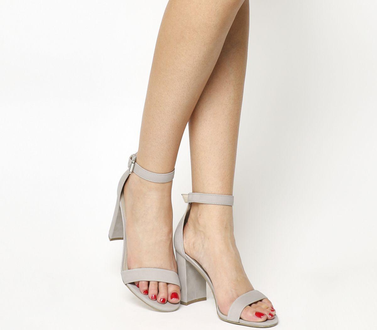 62ea89ad4dbc Office Nina Block Heel Sandals Light Grey Nubuck - High Heels