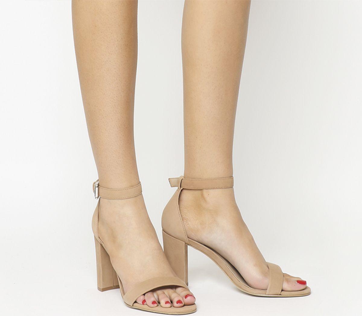 d23972b18ce5 Office Nina Block Heel Sandals Nude Nubuck - High Heels