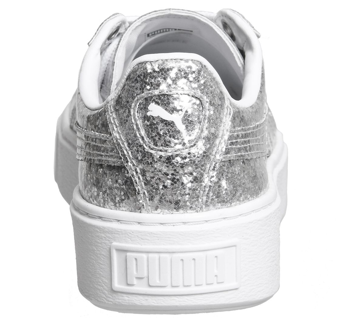 794340453367f2 Puma Basket Platform Trainers Silver Glitter White - Hers trainers