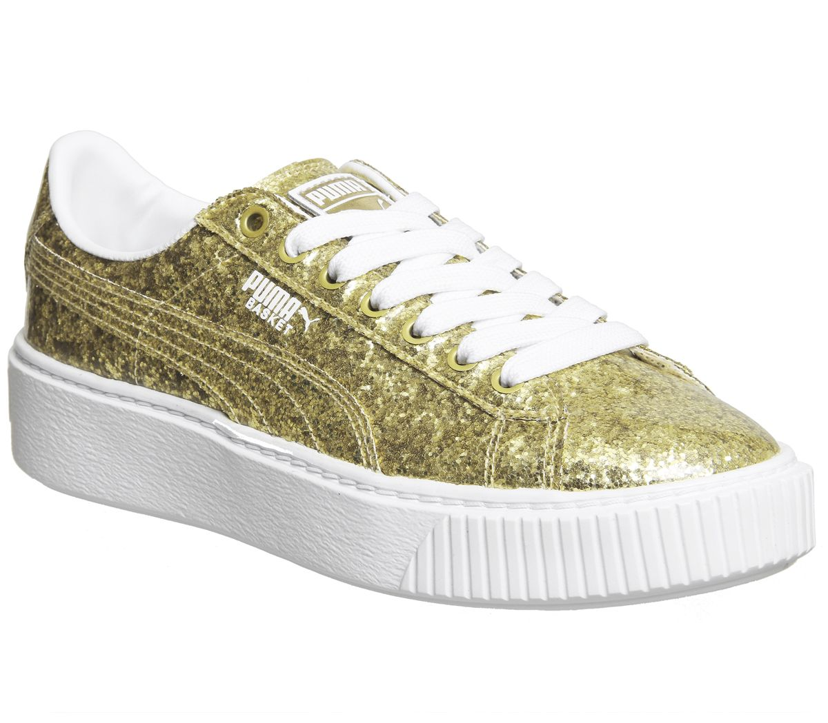 124cb38596699f Puma Basket Platform Trainers Gold Glitter White - Hers trainers