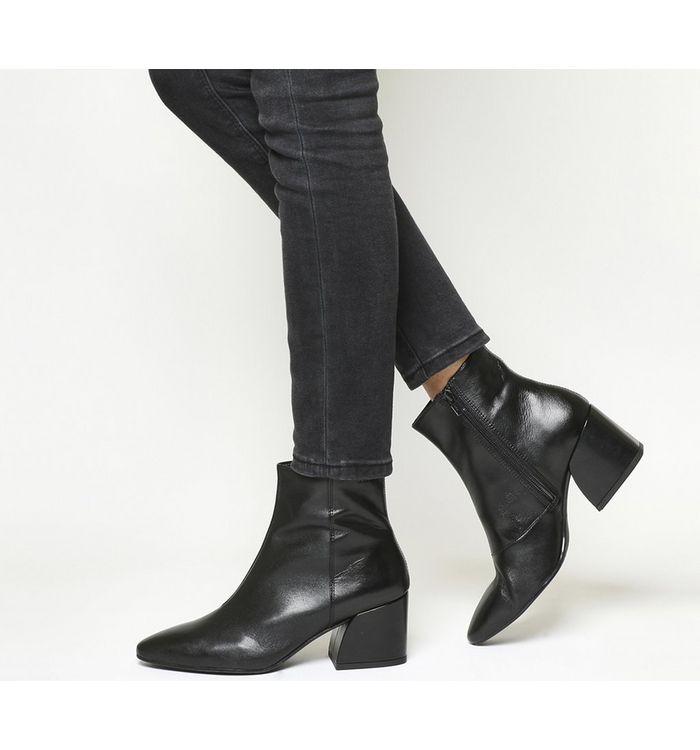 vagabond olivia block heel boot black leather