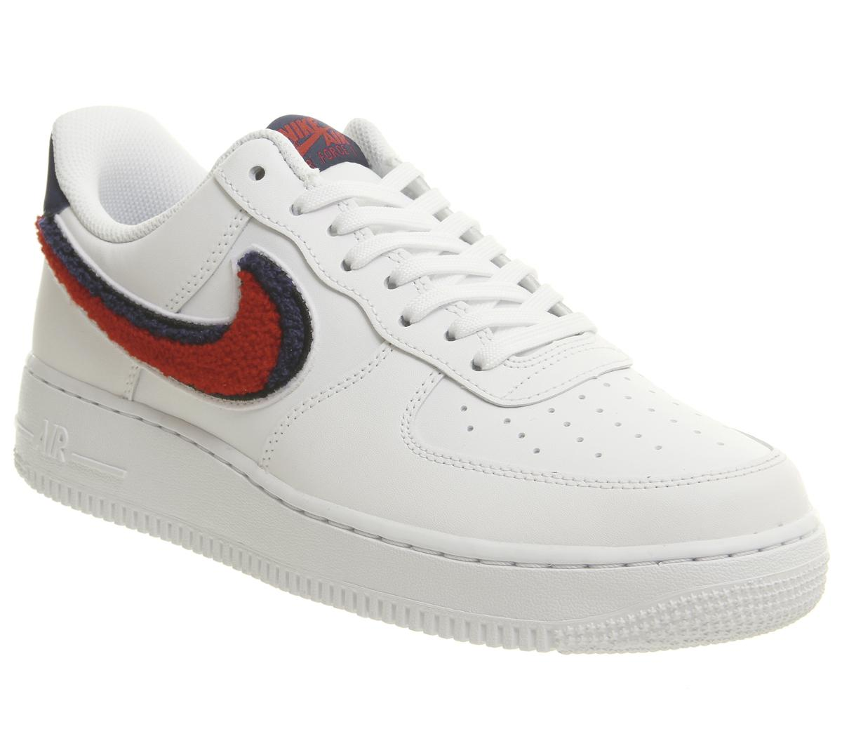 Nike Air Force 1 07 Trainers White University Red Sneaker
