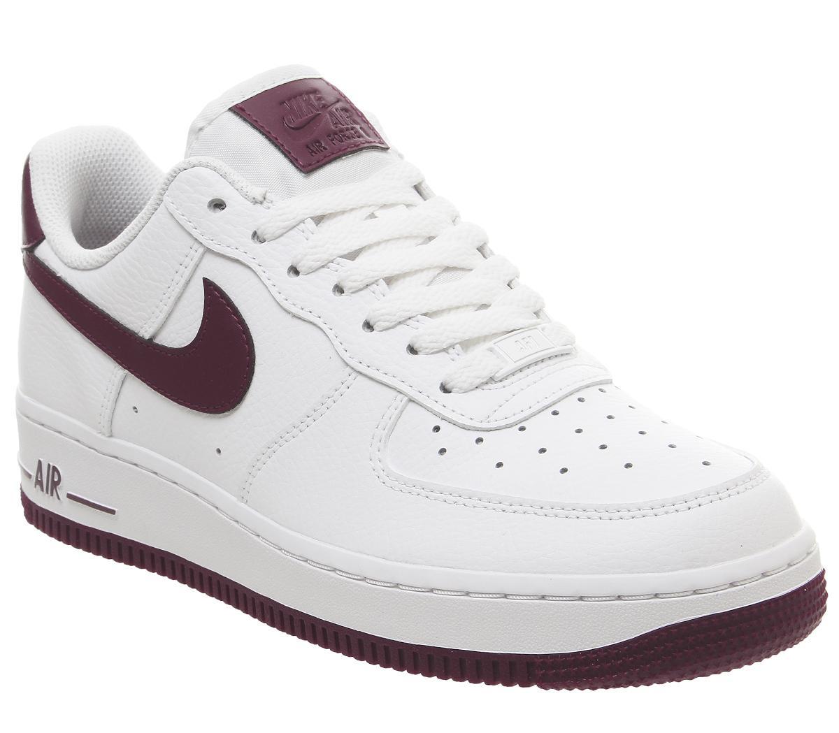 Nike Air Force 1 07 Trainers White Bordeaux Sneaker damen