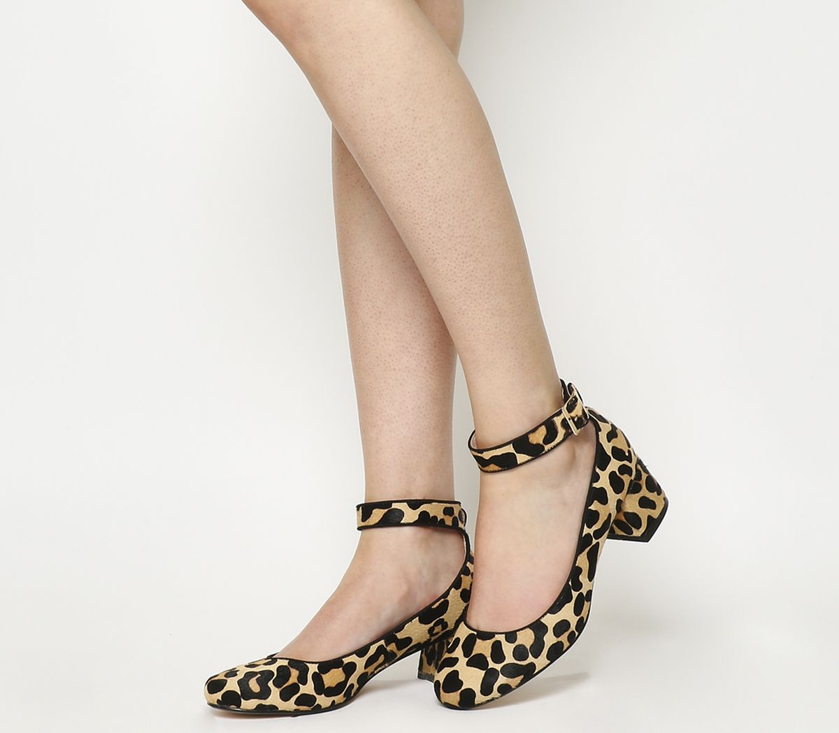 ed850497c867 Office Flashback Block Heel Mary Jane Leopard Cow Hair Effect - Mid ...