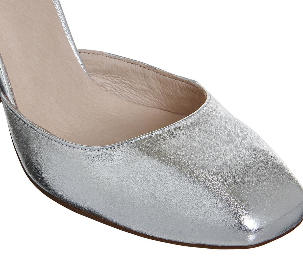abd7e3a10b61 Office Nibbles Mary Jane Block Heels Silver Leather - High Heels