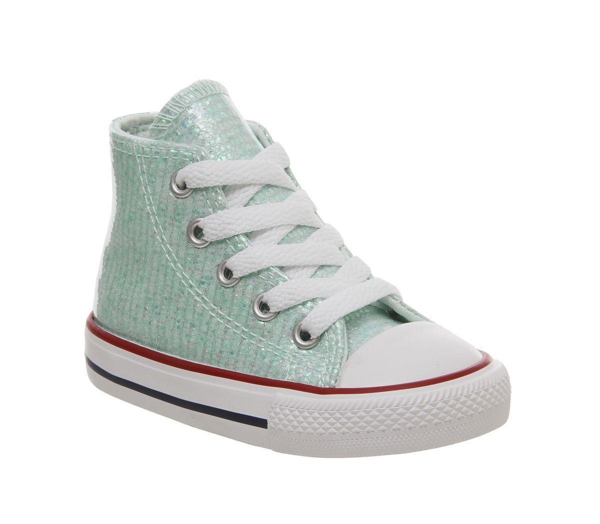29c46271a0e5 Converse Small Star Hi Canvas Trainers Teal Tint Glitter White - Unisex