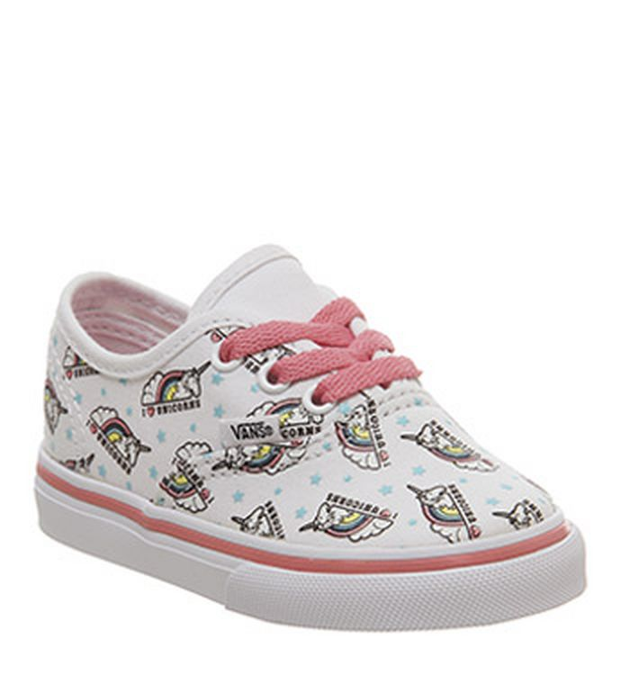 61d5aa8830 25-01-2019 · Vans Authentic Toddlers Trainers True White Strawberry Pink  Unicorn. £32.99