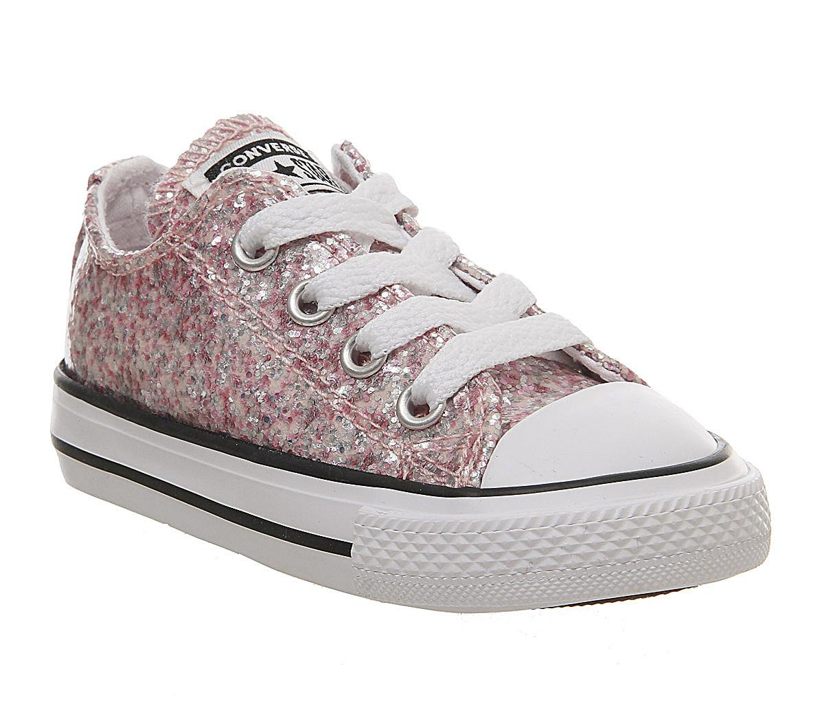 converse pink all star lo glitter trainers junior