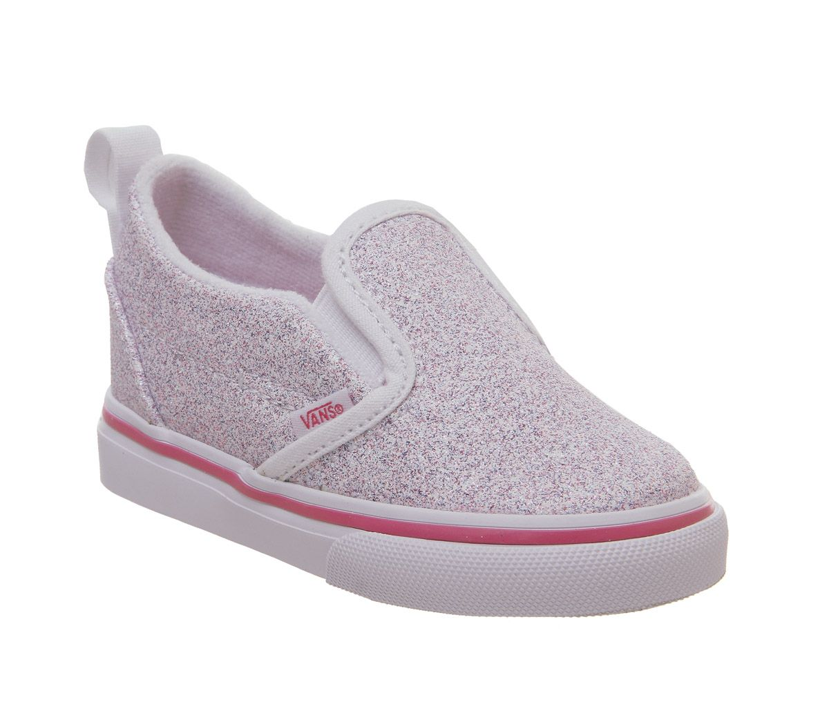 9b0b019309e56f Vans Classic Slip On Toddlers True White Carmine Rose Glitter - Unisex