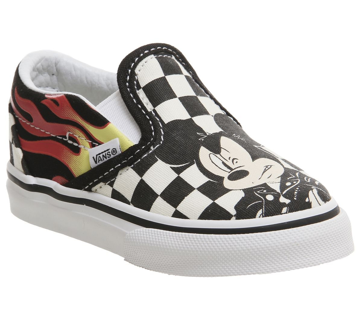 15851bc688 Vans Classic Slip On Toddlers Mickey And Minnie Checker Flame Disney ...