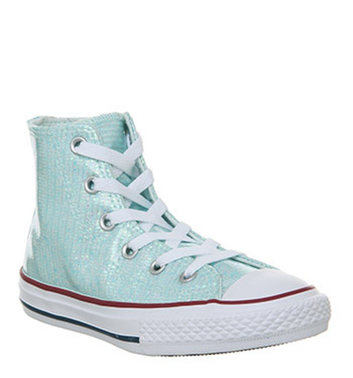 693e07bba8c8d1 15-01-2019 · Converse All Star Hi Mid Sizes Trainers Teal Tint Glitter White.  was £39.99 NOW ...