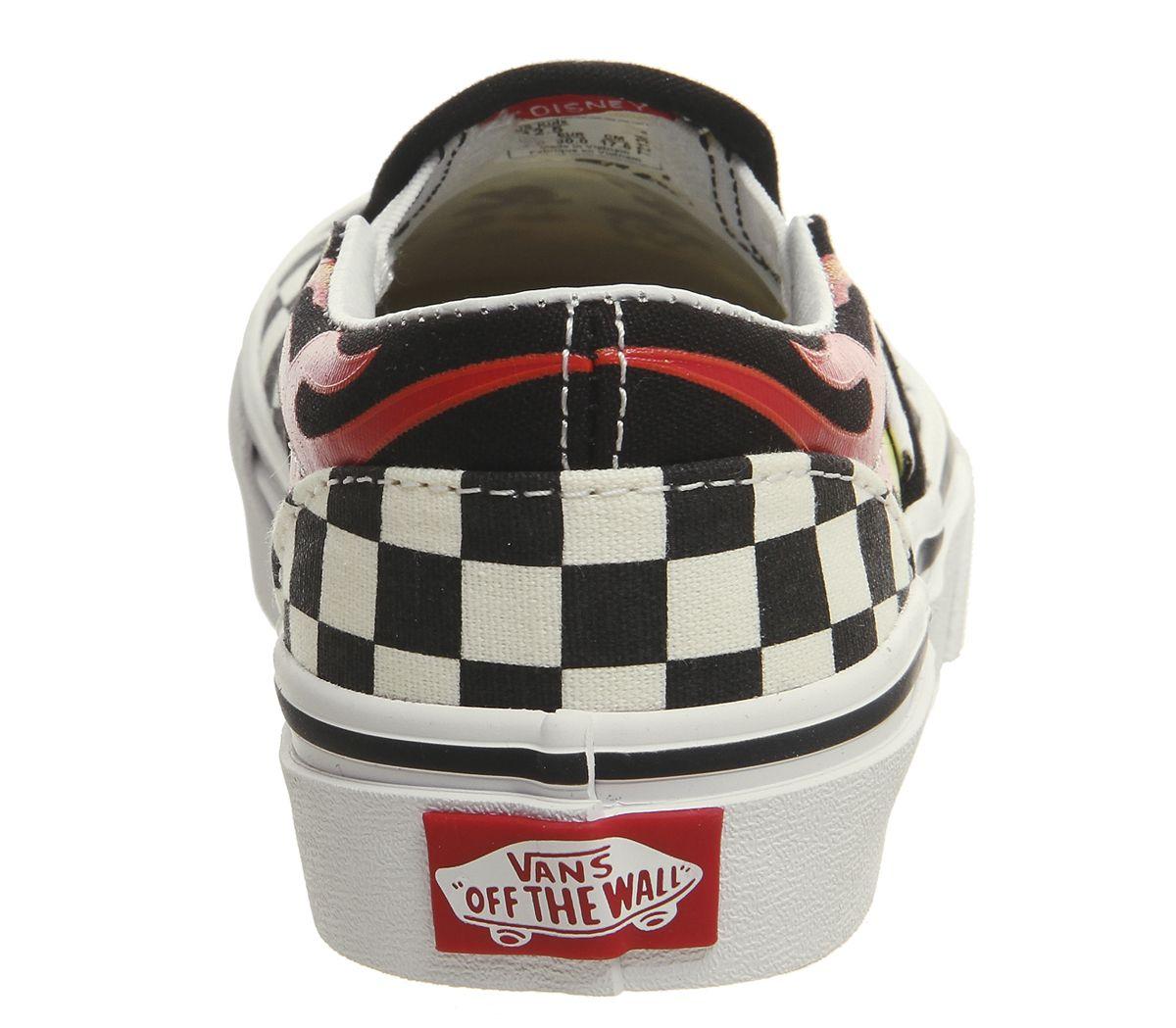 b0e783dddb3e14 Vans Classic Slip On Kids Trainers Mickey And Minnie Checker Flame ...