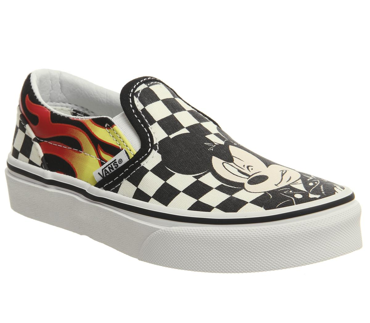 05385e9143 Vans Classic Slip On Kids Trainers Mickey And Minnie Checker Flame ...
