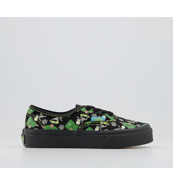 Vans Authentic Kids THE SIMPSONS GLOW BART,Black, Green and White