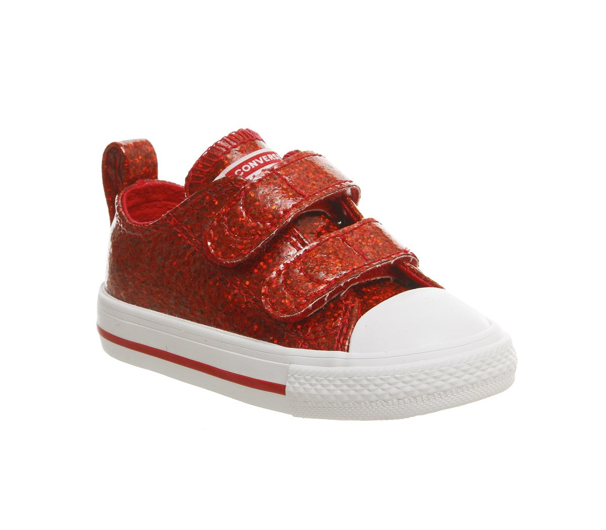 5ef442fdc5c7 Converse All Star 2vlace Trainers Cherry Red Glitter White - Unisex
