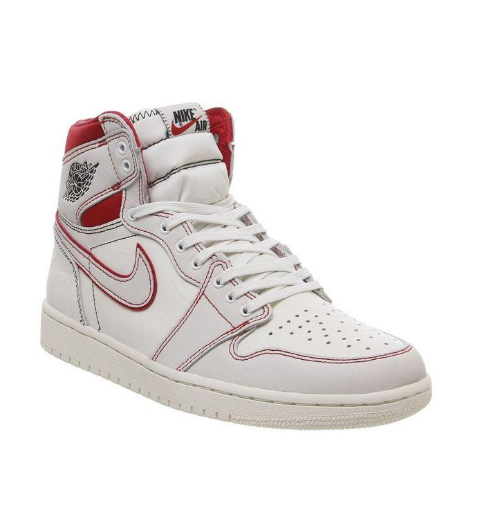pretty nice db4b6 786f8 ... Jordan, Air Jordan 1 Retro Hi Trainers, Sail Black Phantom University  Red ...