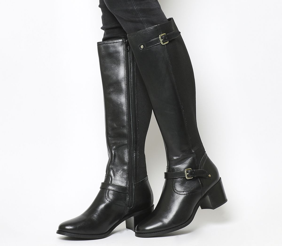 e1028baa2571 Office Kennedy Mid Heel Riding Boots Black Leather - Knee Boots