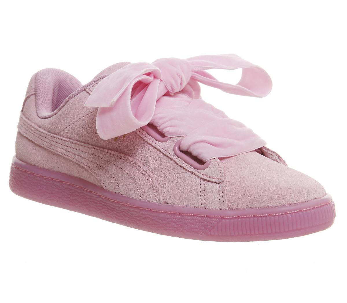 puma suede heart baby pink