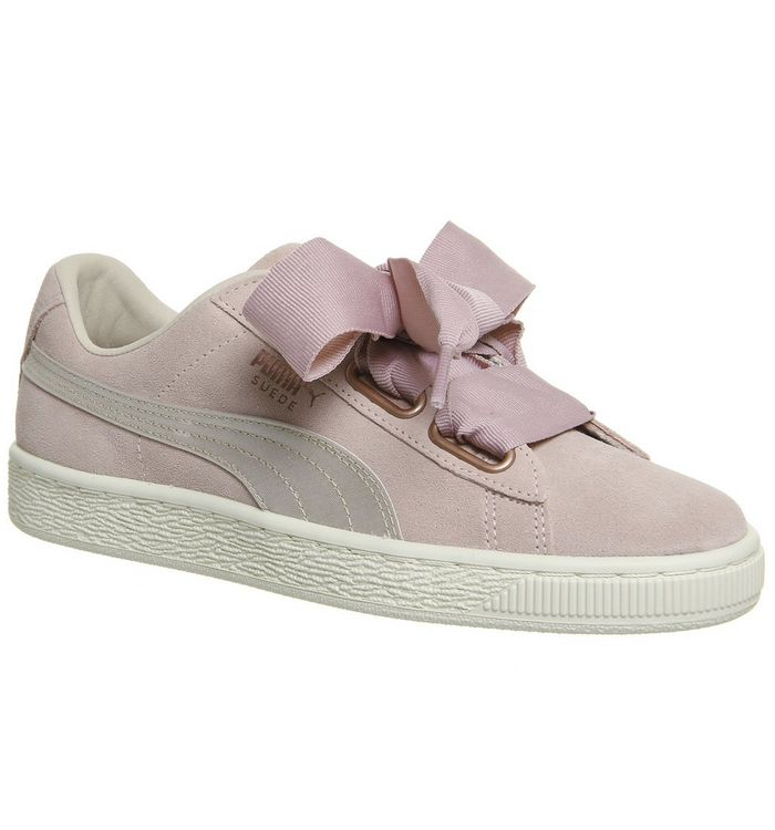 bb2c7bb3fb6 Puma Suede Heart Trainers Quarry Silver Pink Rose Gold - Hers trainers