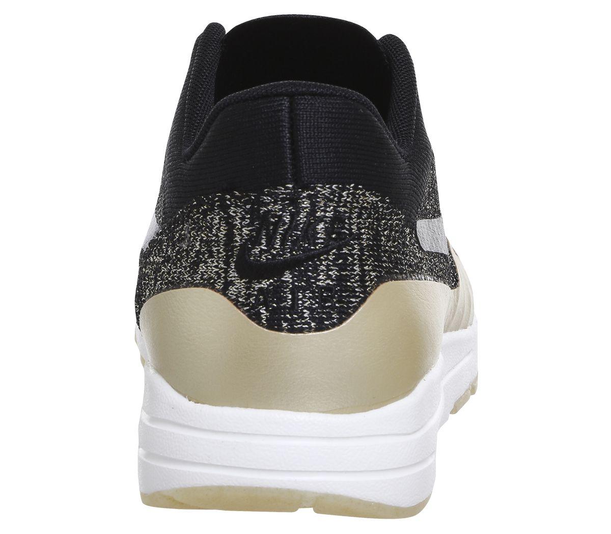 b978250e2d Nike Air Max 1 Ultra 2.0 Flyknit Black Black Metallic Gold Star ...