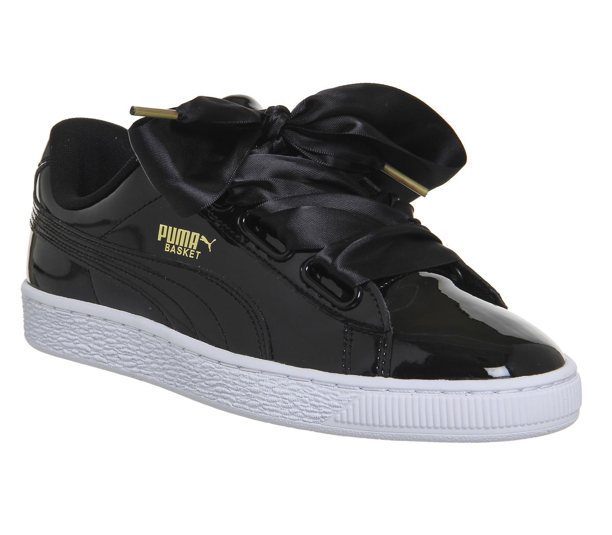 5fb1bc15fce Puma Basket Heart Trainers Black Patent - junior