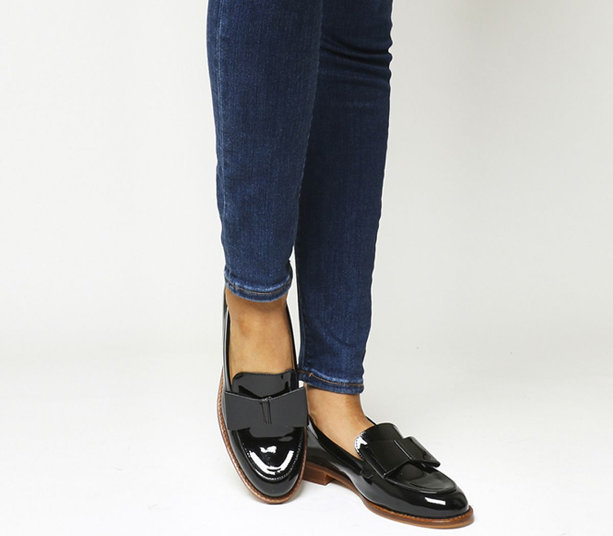 4e8c9a3c7d09 Office Present Bow Loafers Black Patent Leather - Flats