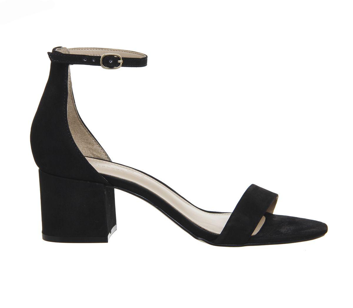 e9808a1fcee Office Finley Block Heel Sandals Black Nubuck - Mid Heels