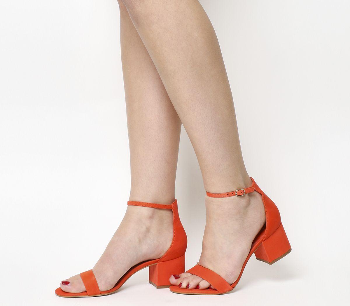 fb6be157966 Office Finley Block Heel Sandals Bright Red Nubuck - Mid Heels