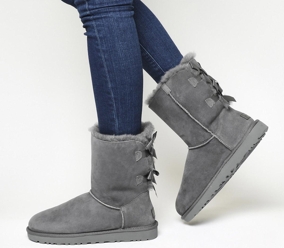 Womens Ugg Bailey Bow Ii Calf Boot Black Suede Uk Size 6.5