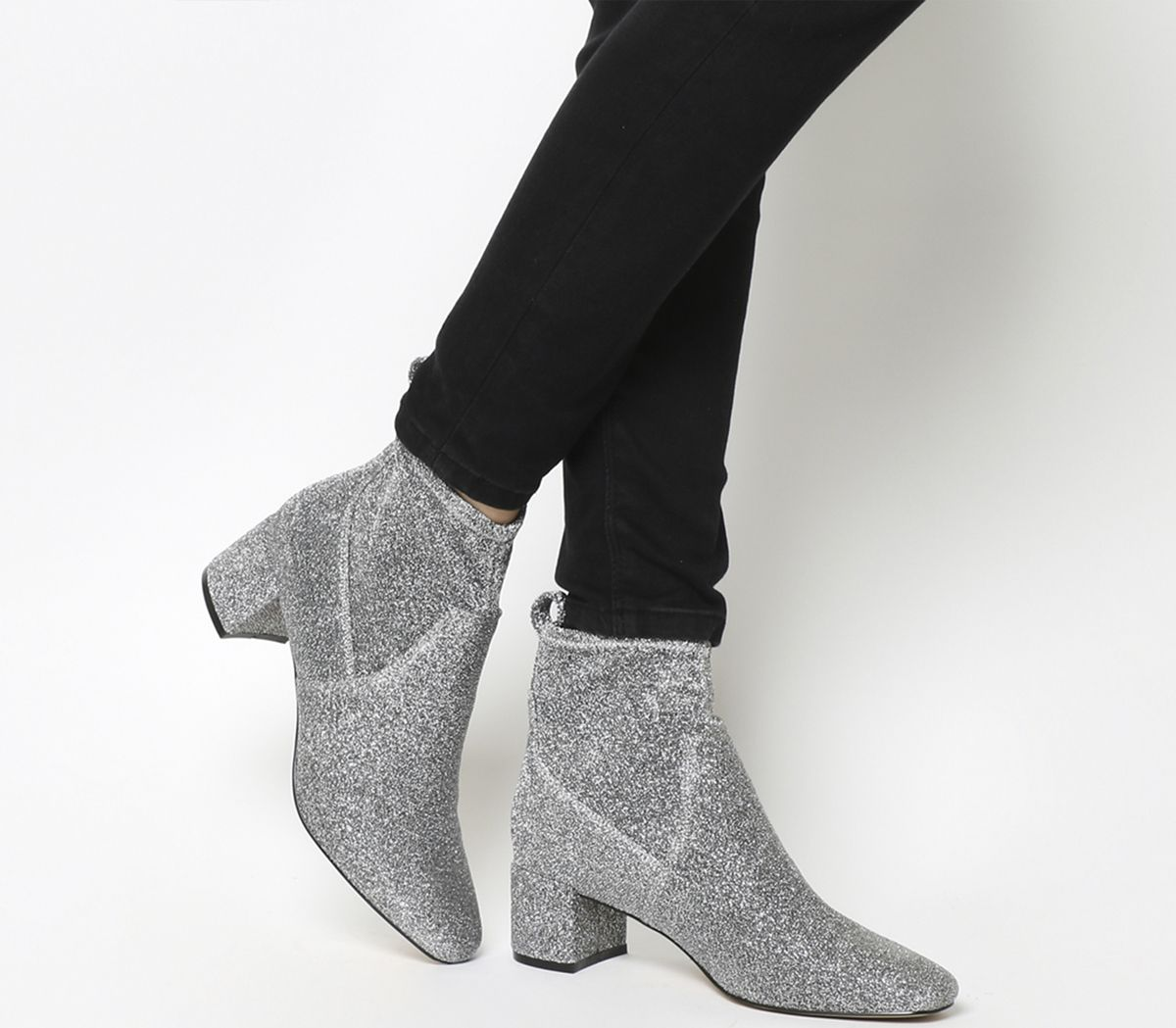 105dca0f1167 Office Lurex Mid Block Heel Stretch Boots Silver Glitter - Ankle Boots