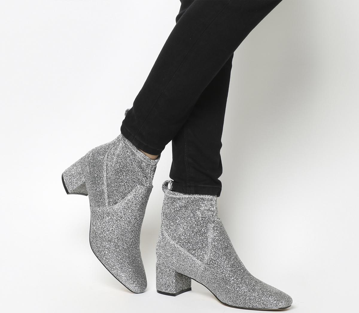 Lurex Mid Block Heel Stretch Boots